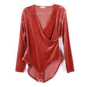 Madewell Velvet Wrap Bodysuit G9967 XL